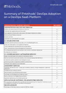 Summary of iTMethods' DevOps Adoption on a DevOps SaaS Platform